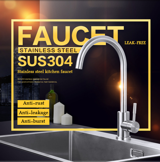 LTENG kitchen  faucet  hot and cold water faucet 304 stainless steel rotary faucet washbasin faucet water-tap free shipping