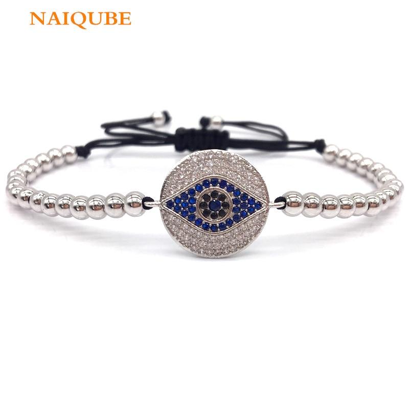 NAIQUBE New Trendy Pave Color CZ Eye Charm Bracelet Braided Macrame Bracelet For Men Women Bead Fashion Jewelry Gift