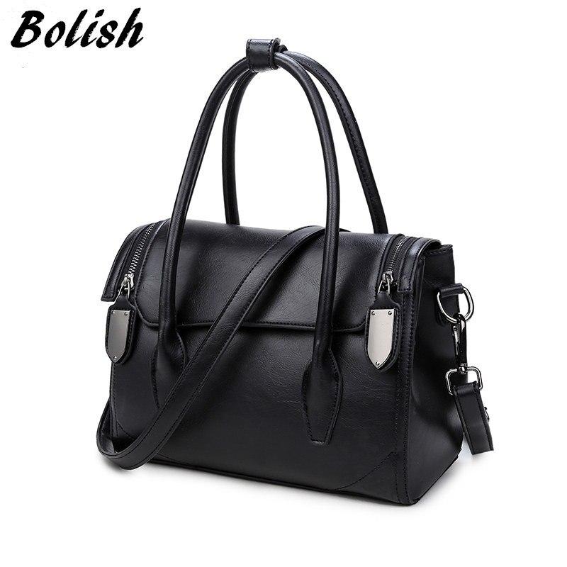 Hot Sale Vintage Pu Leather Women top-handble bags Mater Rivet Women Shoulder Ba