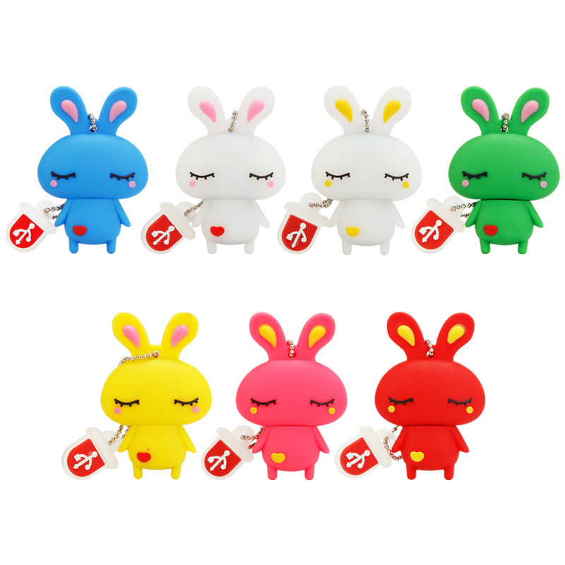 Image 2 - Usb Flash Drive 4GB 8GB 16GB 32GB Cute Mini Pink Rabbit Cartoon Animal Pendrive High Quality Silicone Usb2.0 Pen Drive Best Gift-in USB Flash Drives from Computer & Office