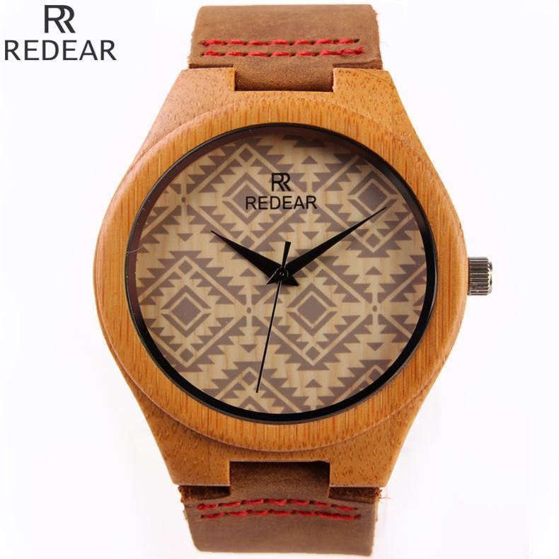 Hot Sale Classic Bamboo Wood Genuine Leather Analog Quartz Dress Wristwatches Wrist font b Watch b