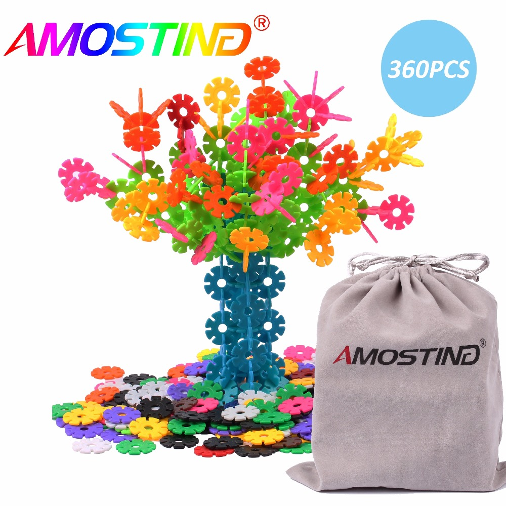 AMOSTING Building Blocks Educational Toys Set Plastic Brain Flakes STEM Toys for Preschool Kids -360pcs with Storage Bag корм tetra tetramin xl flakes complete food for larger tropical fish крупные хлопья для больших тропических рыб 10л 769946