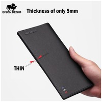 BISON DENIM Genuine Leather Wallet Men Long Business Slim Wallet Cow Leather Wallet Clutch Bag Male Card ID Money Purse N4391 1