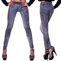 Nuevo y de moda de la moda Las Mujeres de Las Señoras Del Leopardo Slim Fit Lápiz Pantalones Vaqueros Casuales