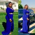 Nova chegada Vestidos V pescoço apliques Chiffon azul Plus Size Prom Vestidos Vestidos de festa
