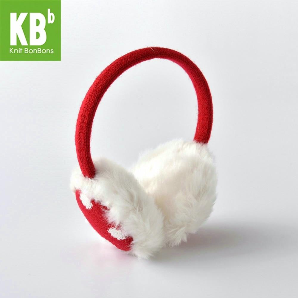 2018 KBB Spring Spot Red Kawaii Adult Fashion Lady Women Men Knit Warm Winter Earmuffs Earlap Warmer For Children Girl Ear Muffs