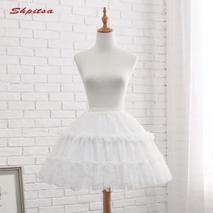 Image 5 - שחור או לבן 2 חישוקי קצר תחתוניות לחתונה לוליטה אישה ילדה תחתוניות קרינולינה פלאפי Pettycoat חישוק חצאית