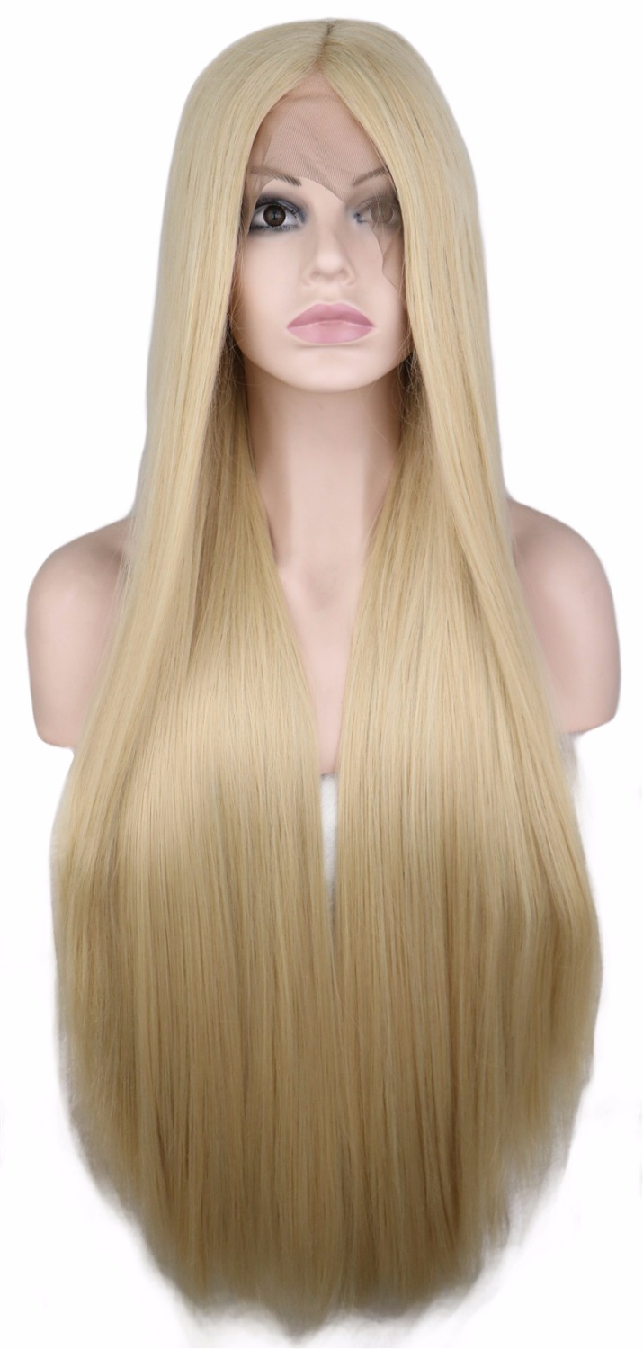 QQXCAIW Handmade Natural Hairline Glueless Front Lace Wig Women Long  Straight Blonde Heat Resistant Fiber Synthetic Hair Wigs 9cfd8f13e