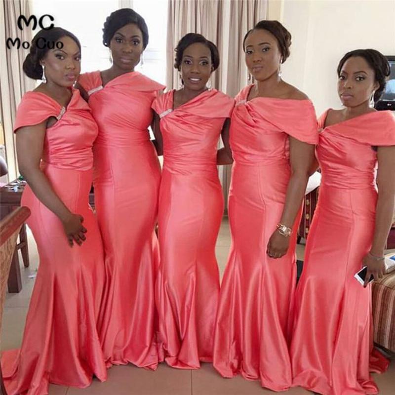 Coral 2019 Africal Mermaid   Bridesmaid     Dresses   Maid of Honor Short Sleeve Wedding Party   Dress   Pleat   bridesmaid     dress