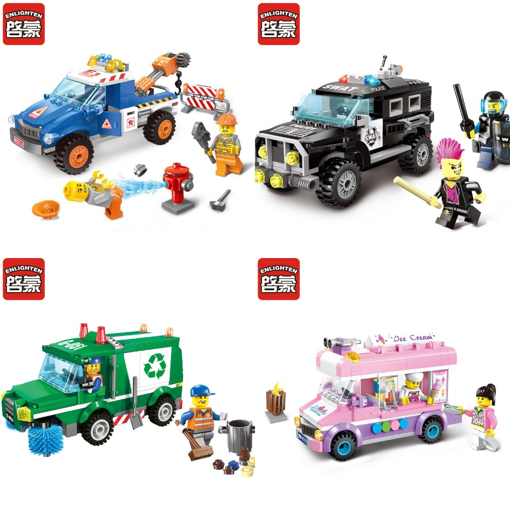 ENLIGHTEN City Wrecker Police Sanitation Ice Cream Car Truck Model Building Blocks DIY Figure Toys For Children Compatible Legoe city series police car motorcycle building blocks policeman models toys for children boy gifts compatible with legoeinglys 26014