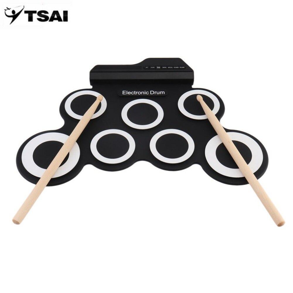 TSAI profesional 7 almohadillas de silicona USB Digital portátil rollo plegable de silicona Pad de batería electrónica Kit con baquetas Pedal