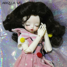 Bjd Wig 1/3 High-temperature Fiber Synthetic Girl Long Hair Black Color Doll Wig in
