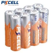 8 pçs/lote PKCELL Bateria AA Bateria Ni Zn-1.6V AA Bateria Recarregável de Níquel-Zinco em massa 2500mWh Baterias Baterias