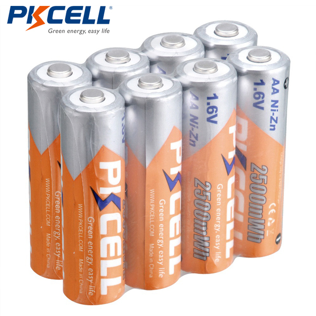 8pcs/lot PKCELL Bateria AA Battery Ni Zn 1.6V 2500mWh Nickel Zinc in bulk AA Rechargeable Battery Batteries Baterias