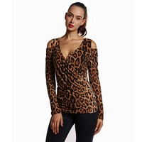 Womens Sexy Leopard Shirt Long Sleeve V Neck Slim Tops Fashion Ladies Open Shoulder Blouse Camisas