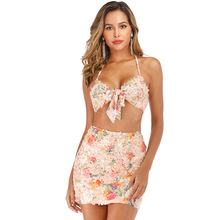 цена на Two-pieces Set Women Floral Print Summer Dress Off Shoulder Sexy Squins Spaghetti Strap Top+Bodycon Wrap Mini Party A-line Dress