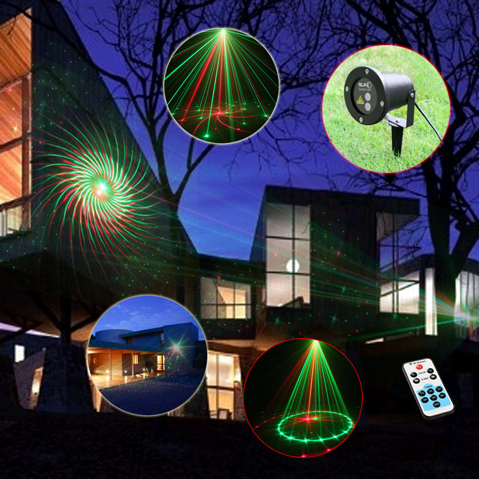 12 Patterns Red Green Christmas Landscape Outdoor Laser Lights 110V 220V Waterproof Laser Xmas Tree Garden Light beautiful alumium ip67 outdoor eu us uk plug tree garden party festival christmas decoration green red mini led laser light