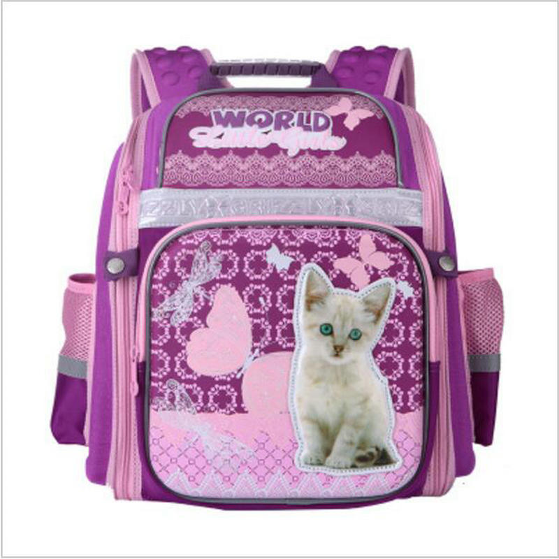 NEW 2017 School Bags for Girls Cute Cartoon Cat Dog Children School Backpack Orthopedics Night Reflective Schoolbag Grade 1-6