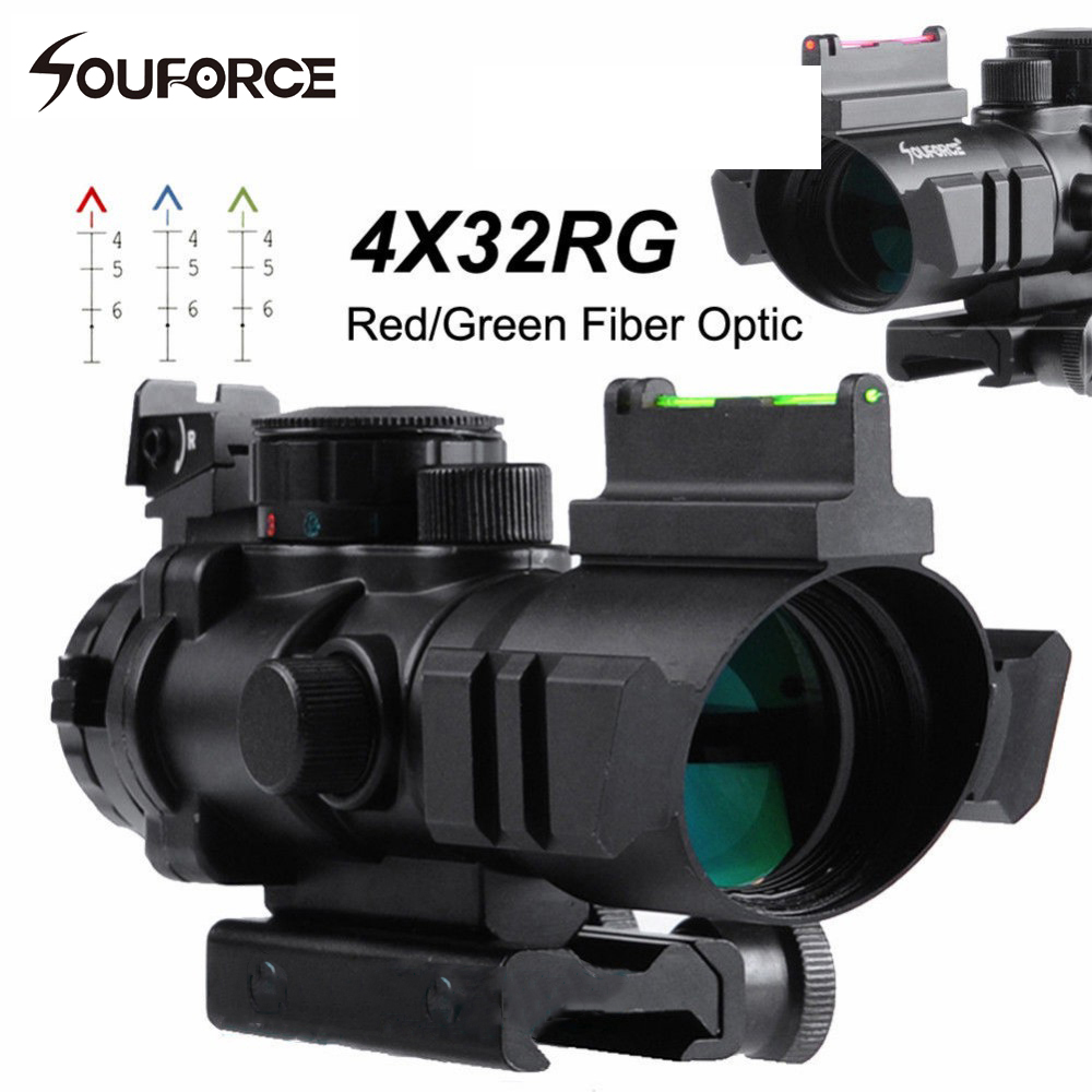 Tactical 4x32 Airsoft Gun Riflescope 20mm Dovetail Hunting Rifle Scope with Red/Green Reticle Fiber Optic Sight Scope tactical 4x32 rifle scope w tri illuminated chevron reticle fiber optic sight scope rifle airsoft gun hunting airsoft