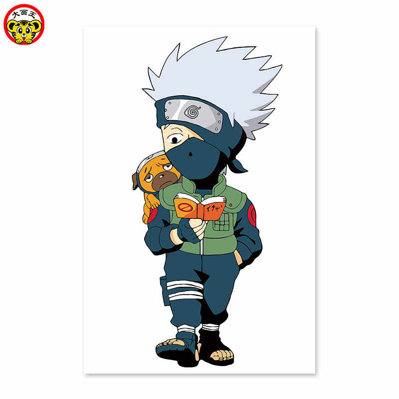 Naruto Kakashi Kucuk Cocuk Okuma Kitap Yavru Dijital Boyama Diy