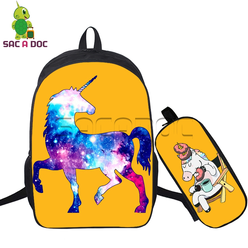 2pcs/set Galaxy Universe Unicorn Printing Backpacks School Bags with Pencil Case for Teenagers Girls Bookbag Women Travel Bag2pcs/set Galaxy Universe Unicorn Printing Backpacks School Bags with Pencil Case for Teenagers Girls Bookbag Women Travel Bag