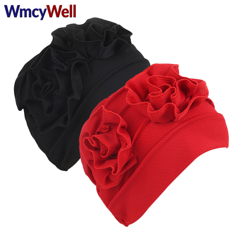 WmcyWell New Fashion Female Solid Women Muslim Ruffle Cancer Chemo Hat Beanie Scarf Turban Head Wrap Cap For Women Full Head women s hat muslim flowers decorated beanies scarf cap two color fashion flower hat famous winds tight adjustment female hat