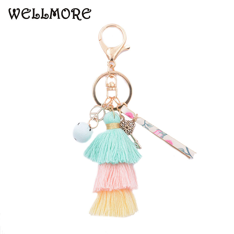 WELLMORE 2017 Leather,Cloth Ball,key,long Tassel Colorful  Alloy Key Chain For Women Girl Bag Keychain Wholesale Jewelry