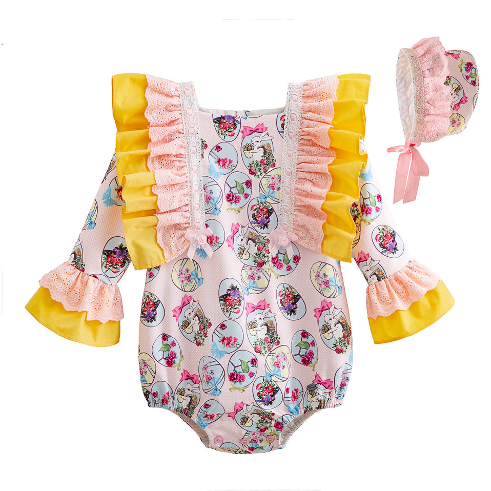 Pettigirl Wholesale Easter Yellow Baby Girl Romper With Bonnet Floral Print Princess Costume Fashion Kid Clothes G-DMRR112-B484Pettigirl Wholesale Easter Yellow Baby Girl Romper With Bonnet Floral Print Princess Costume Fashion Kid Clothes G-DMRR112-B484