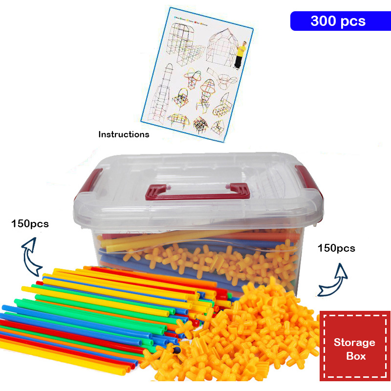 300pcs DIY Toys Baby Children Straw Blocks Enlightenment Toys Plastic Stitching Assembly Straw Building Blocks Kids Creative Toy 100pcs assembled building blocks toy children educational colorful plastic straw fight inserted blocks christmas gift