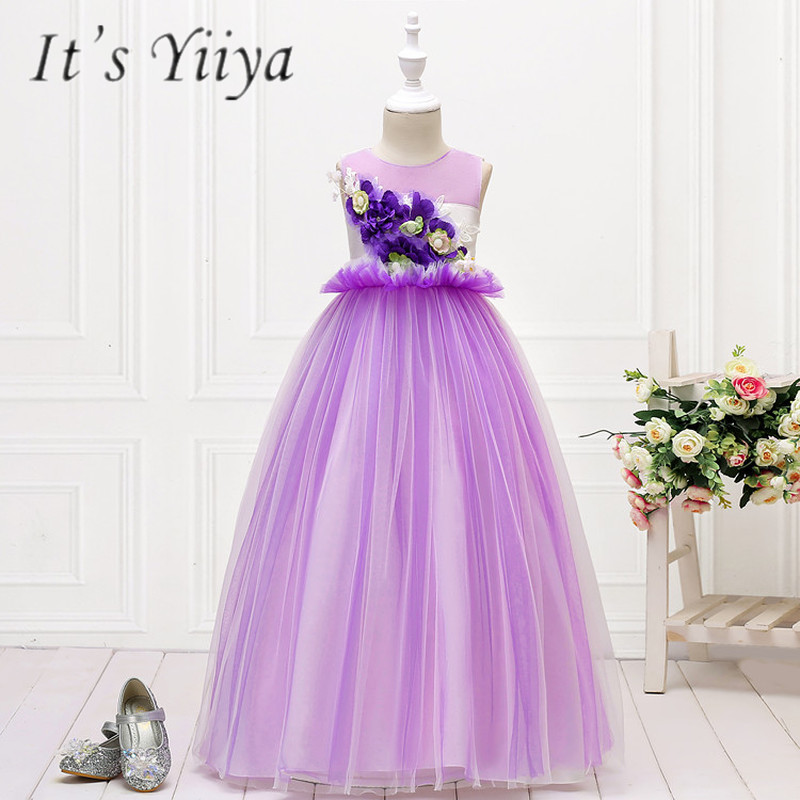 It's YiiYa   Flower     Girl     Dresses   5 Colors Sleeveless O-Neck Floor Length   Girls   Pageant   Dresses   Vestidos De Noches Para Ninas 151