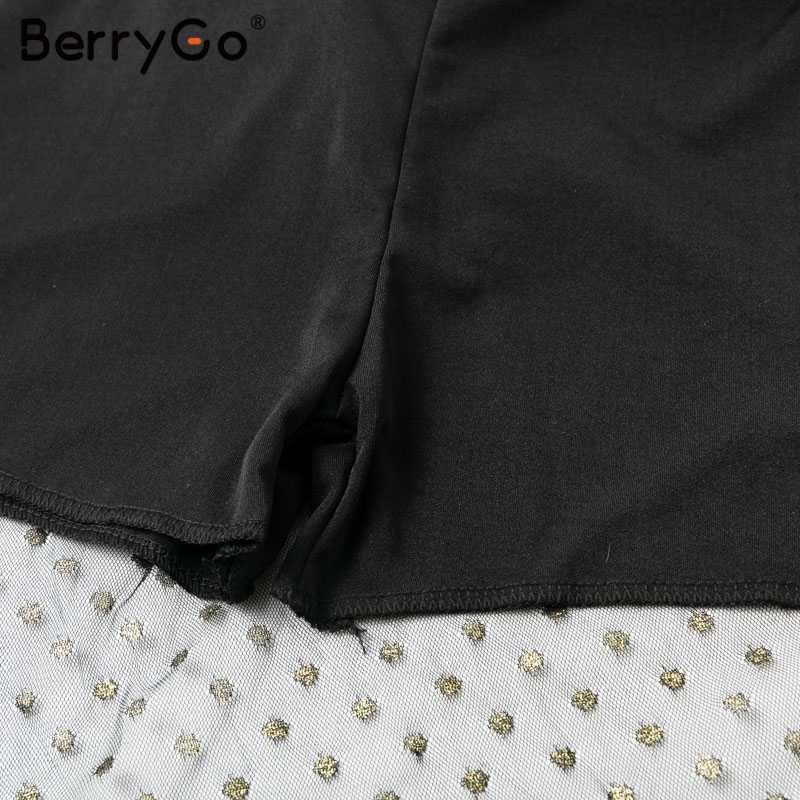 BerryGo женский комбинезон черный комбинезон сексуальный в горошек longHot штемпелюя ремень Сплит комбинезон вечерние Прозрачные Комбинезоны