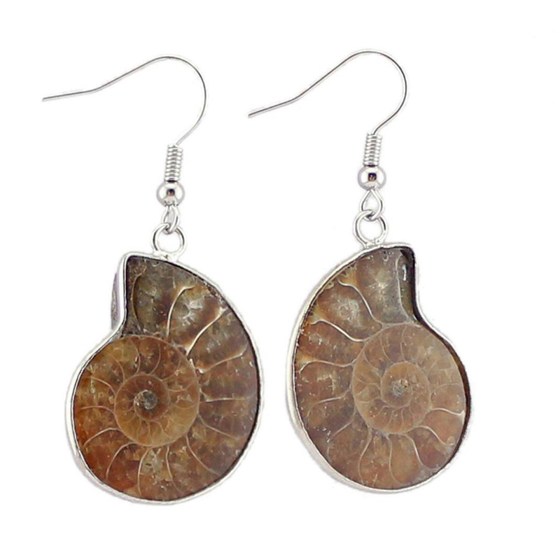 Top Fashion New 2018 Brand Jewelry Lady brincos grandes Accessories Jewelry Natural Ammonite Snail Vintage Earrings for women