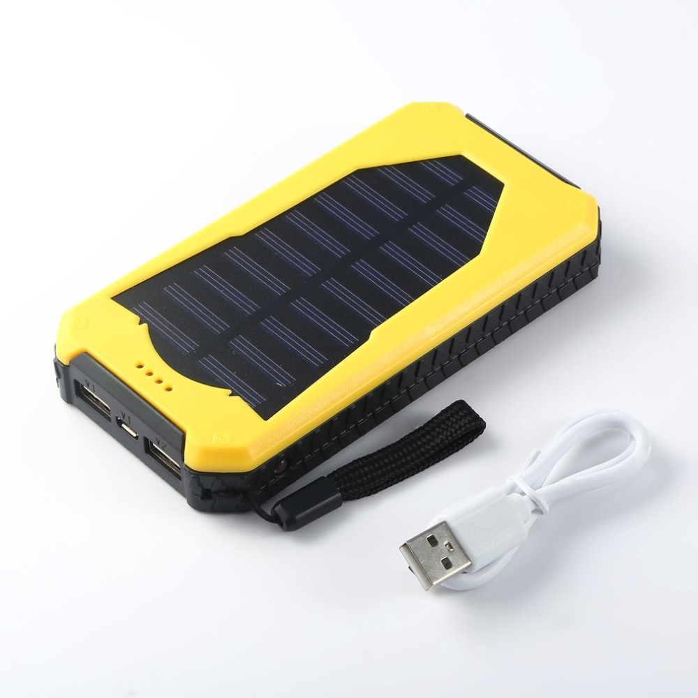 10000mAh 10 LEDs Dual USB Port Dustproof Shockproof Solar Powered Power Bank Charger for Outdoor Emergency Lighting(China)