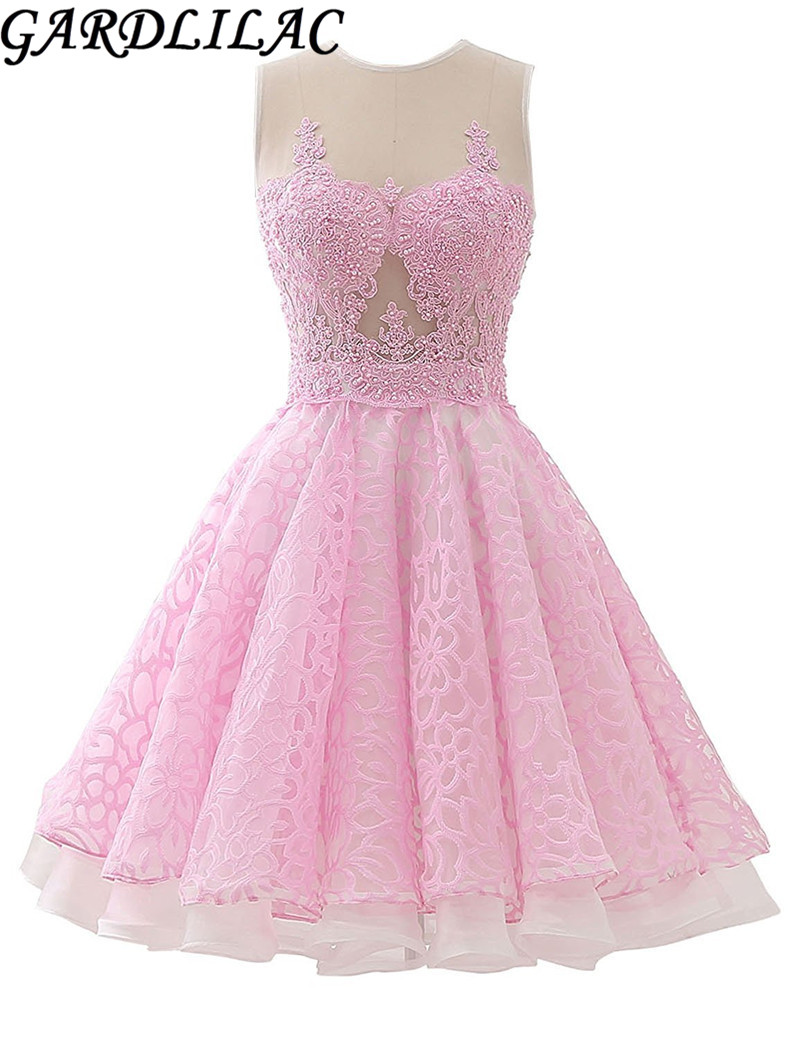 Gardlilac Tulle Applique Beading Kort hjemkomst Kjole Pink Gul Blå Mini A-Line Ærmeløs Homecoming Dress