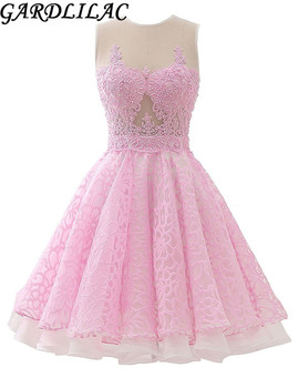 Gardlilac tulle applique beading short homecoming dress pink yellow blue mini a line sleeveless homecoming dress.jpg 350x350