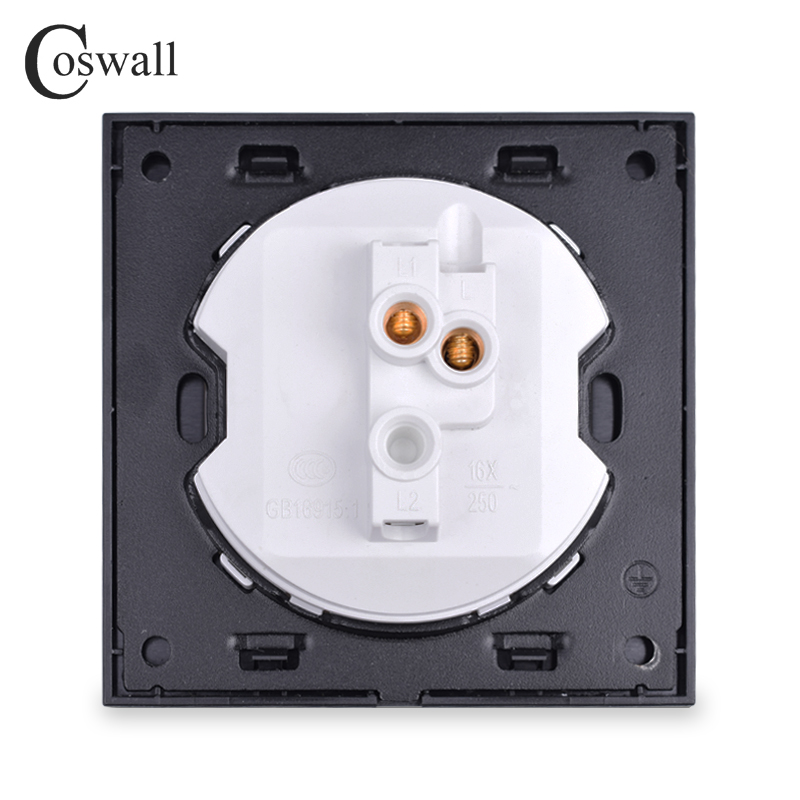 Coswall 2018 New Arrival 1 Gang Push Button Wall Doorbell Switch Momentary Contact Switch Crystal Tempered Glass Panel 16A