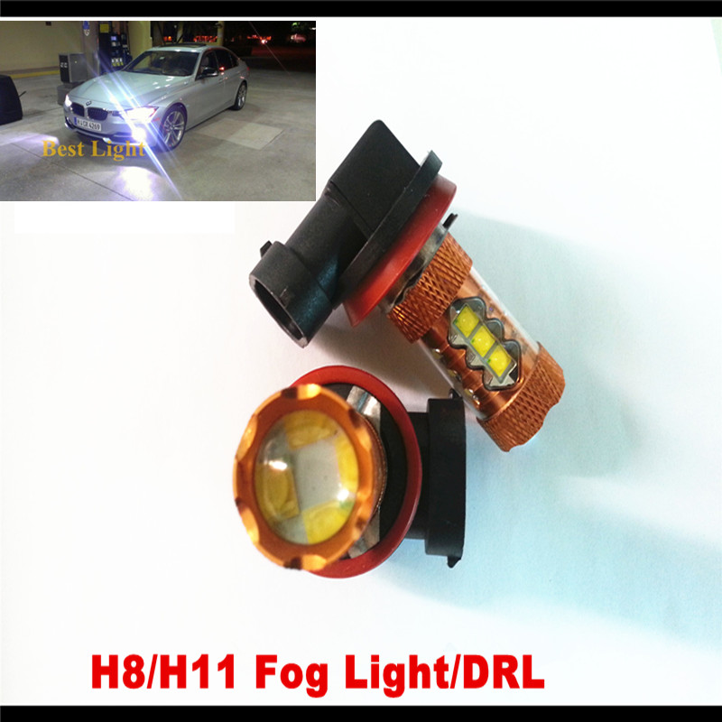 Free Shipping H11/H8 Canbus 80W Q5 LED 6000K White Projector Plasma Head Bulb For Car Low Beam Light For BMW E53 E70 X5 X5M
