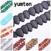 Yumten Water Drop Blue Sandstone Beads  32mm*22mm Pear Bead DIY Jewelry Making Necklace Accessories Agate Opal Crystal Beaded