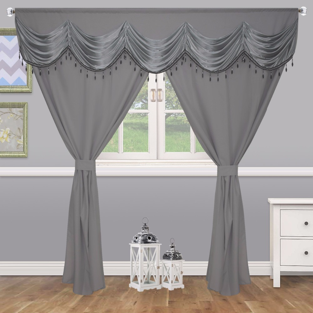 Pure Color European Window Curtain Bed room Tassels Beads Europe Court Curtain Design for Liveing Window