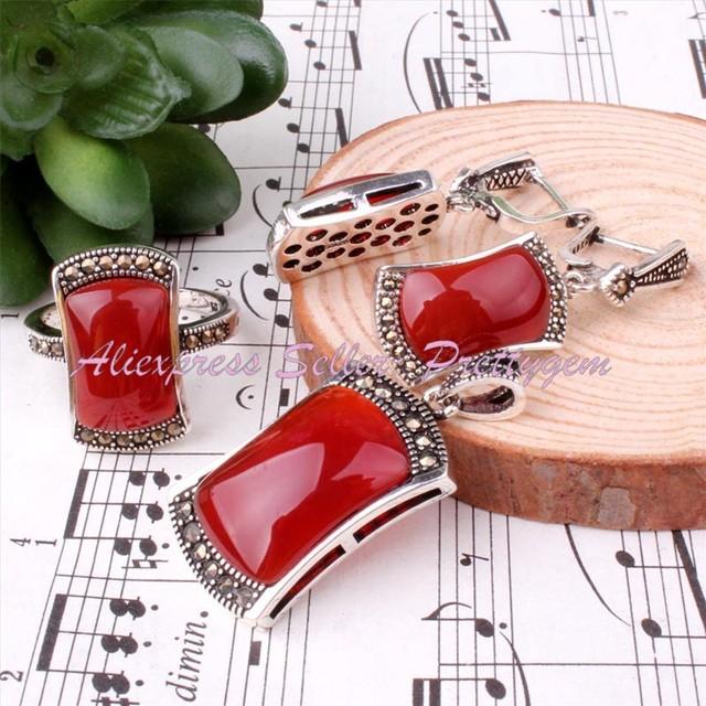 Frete grátis moda 10 X 15 / 8 X 15 / 12 X 20 MM bonita ágata vermelha prata tibetano EARRINS anéis pingente 1 conjunto