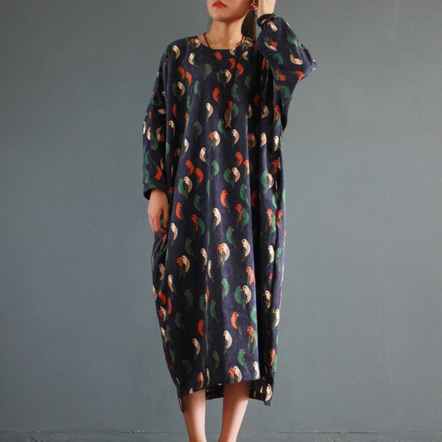2017 Women Spring Autumn Dress Vintage Corduroy Abstract Bird Print Long-sleeve Plus Size Asymmetry Dress Casual Long Robe