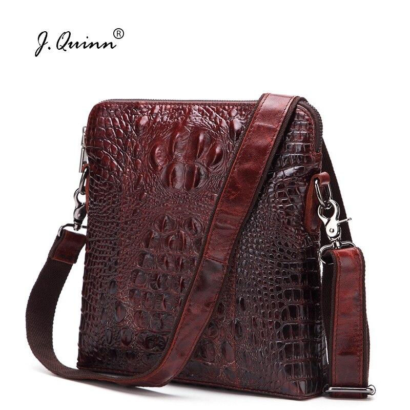 J. Quinn Мужская сумка из натуральной кожи через плечо мужская сумка мессенджер на плечо деловая Повседневная сумка из крокодиловой кожи