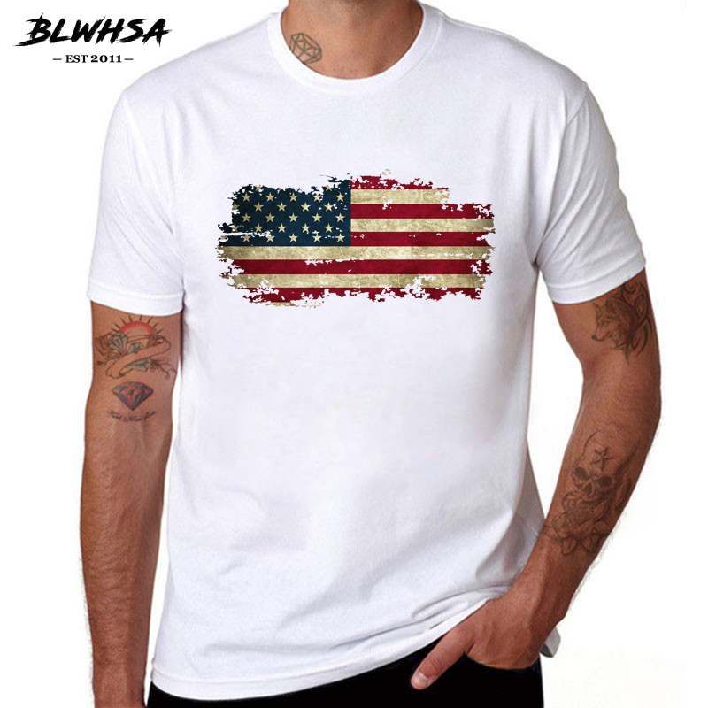 BLWHSA USA Flag T Shirt Men America Fashion Short Sleeve 100% Cotton Cool T-shirts  United States Flag Hip Hop Tops Tees