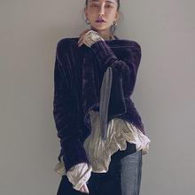 Newest velvet elegant purple sweater female long sleeve o-neck casual style Pullovers 2018 autumn fashion outerwear tops gx1442