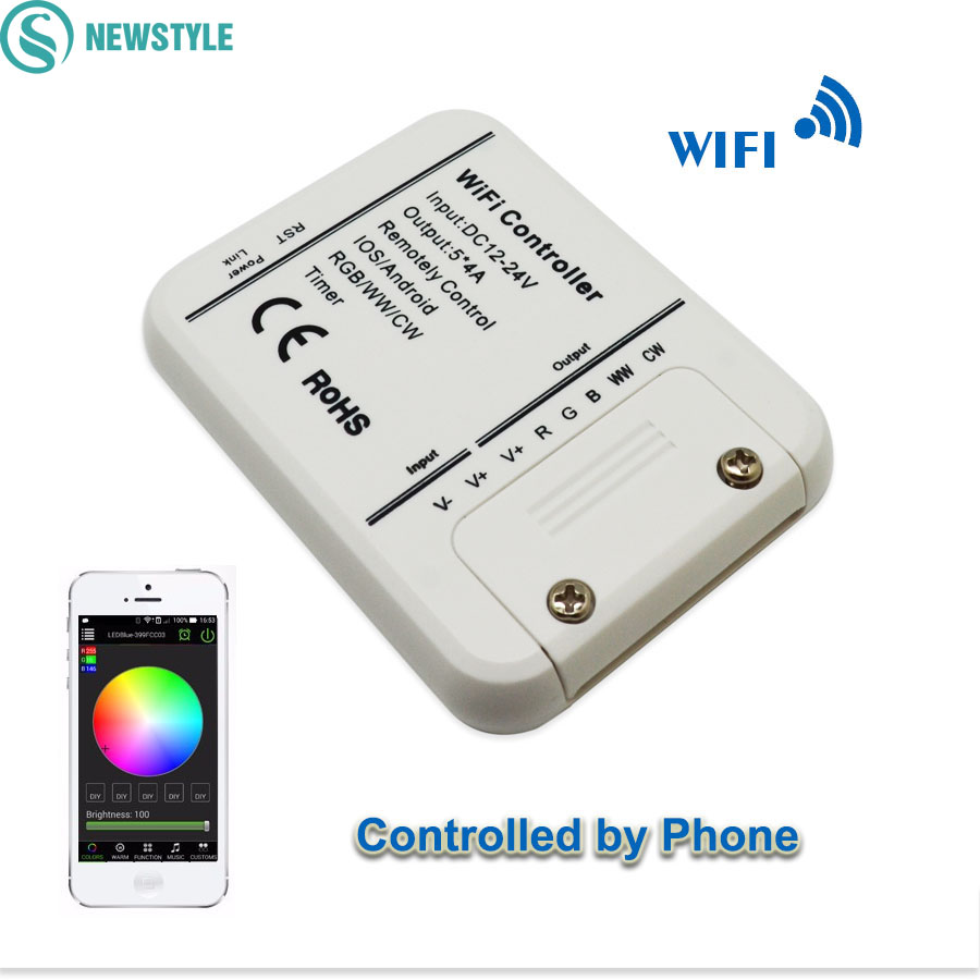 DC12-24V Wifi LED Controller Original 16Million Colors 5Channels RGB/WW/CW Smartphone Control Music And Timer Mode Controller