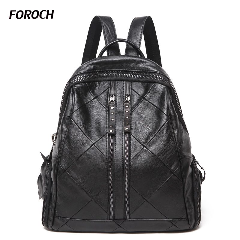 FOROCH Fashion Women Backpack High Quality Genuine Leather Mochila Escolar School Bags For Teenagers Girls Leisure Backpacks 192