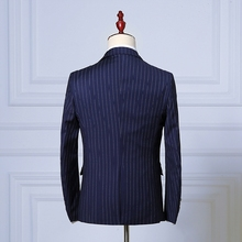 (Jacket+Pant+Vest) Men Business Suits Classic One Button Slim Fit Single Button 2018 New Brand Male Stripe Suit Navy Blue Black