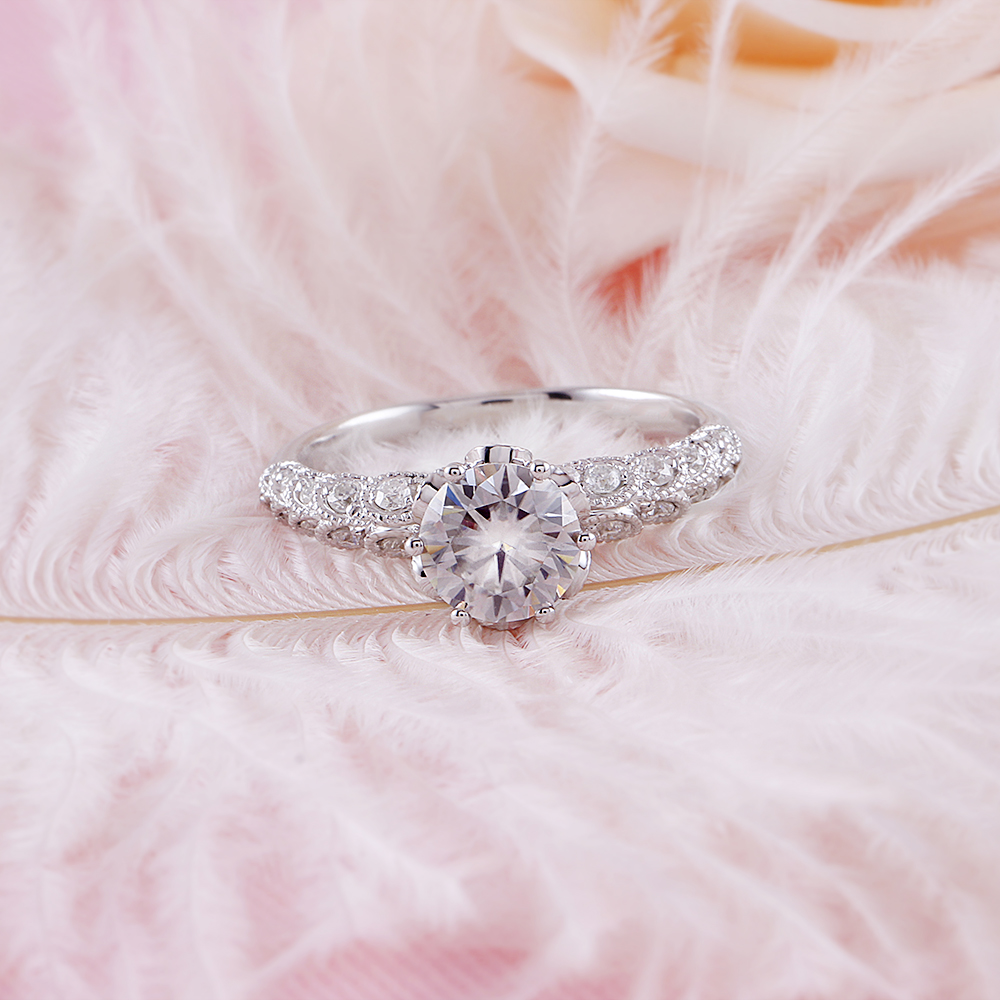 Transgems nuevo Anillo de Moissanite hecho a mano para mujeres Centro 1ct 6,5 MM F Color Moissanite diamante 14 K 585 blanco anillo de oro - 3