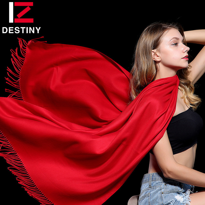 SCHICKSAL 2018 Winter Frauen Schal Weibliche Luxus Marke Schals Mode Dame Quaste Bandana Schal Tippet Pashmina Kaschmir Foulard