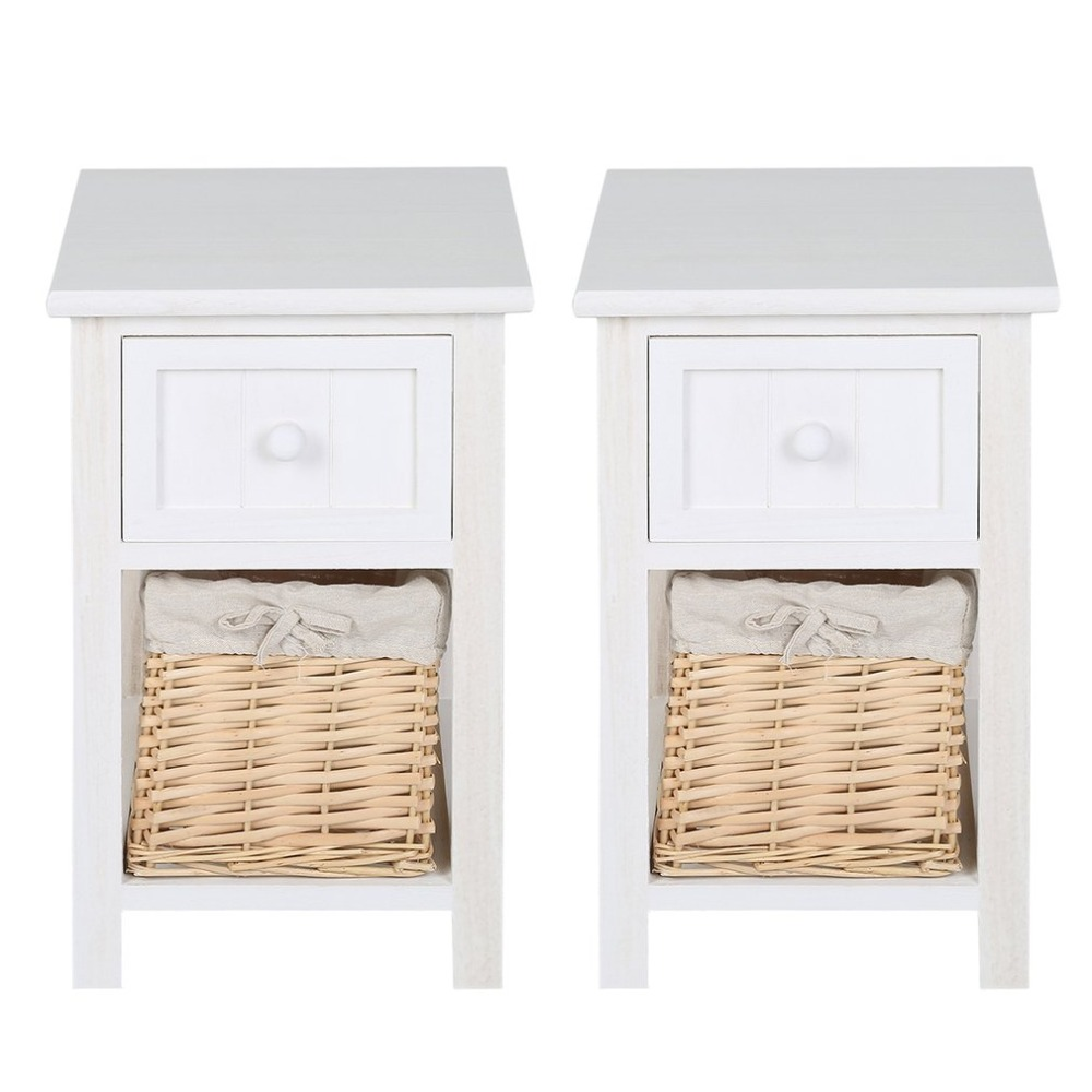 2pcs Storage Organizer Wooden Bedside Table Cabinet With Wicker Cabinet Wardrobe Standing Clothing Drawer Home Furniture 73 5x66x33cm white wooden floor standing storage cabinet cupboard with 2 drawers and 2 doors dolap duzenleyici guardaroba
